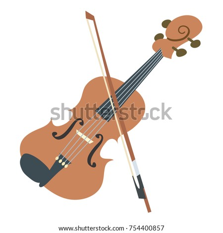 simple vector illustration of a violin, viola or fiddle, and bow