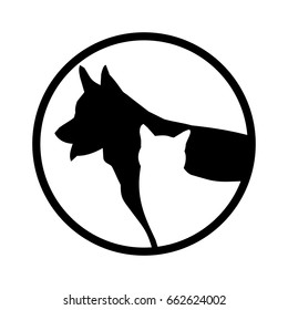 simple vector image of a white cat on a background of black dogs in the circle