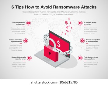 Simple Vector infographic for 6 tips how to avoid ransomware attacks with laptop, red padlock and chain isolated on light background. Easy to use for your website or presentation.