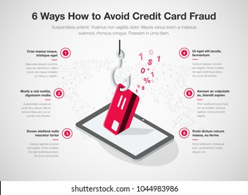 Simple Vector infographic for 6 ways how to avoid credit card fraud template isolated on light background. Easy to use for your website or presentation.