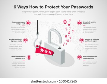 Simple Vector infographic for 6 ways how to protect your passwords template isolated on light background. Easy to use for your website or presentation.