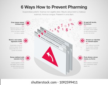 Simple Vector infographic for 6 ways how to prevent pharming online fraud template isolated on light background. Easy to use for your website or presentation.