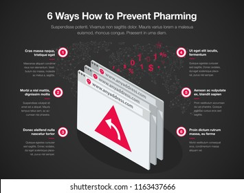 Simple Vector infographic for 6 ways how to prevent pharming redirecting a website's traffic to another fake site. Easy to use for your website or presentation - dark version.
