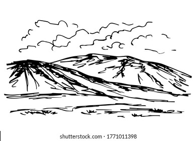 Simple vector ink drawing in engraving style. Silhouette of mountains on the horizon, clouds, hills, nature, foothills. Rock landscape, wildlife.
