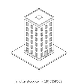 Simple vector Isometric building. Line illustration of modern architecture