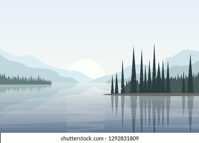 Simple vector landscape with lake surrounded by hills and trees reflected in calm water. Illustration in flat style for website background
