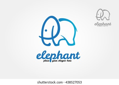 Simple Vector logo illustration elephant