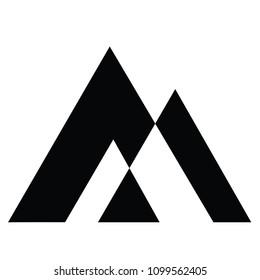 Simple vector logo in a modern style. Mountain triangle vector logo.