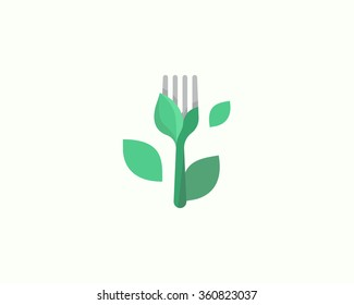 Simple vector logo in a modern style. Vegetarianism and healthy lifestyle, organic, food from plant foods, health food restaurant, green market.