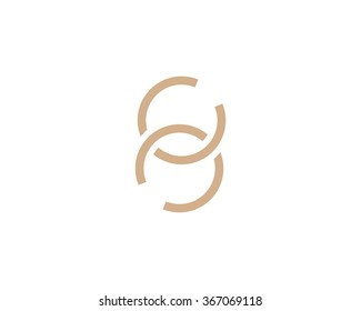 Simple vector logo in a modern style. Two intertwined rings.