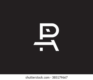 Simple  vector logo in a modern  style. The combination of the letters P and  A formed monogram in  the letter of R