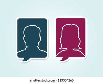 Simple vector male female avatar icons
