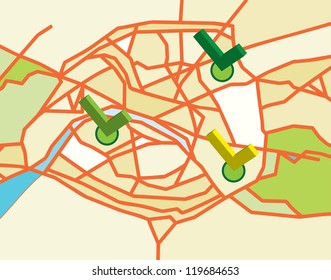 simple vector map of paris with labels