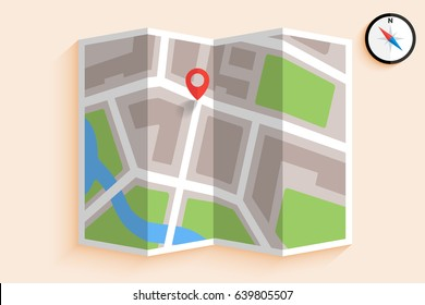 Simple vector of map with pin and compass
