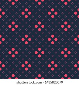 Simple vector minimalist seamless pattern. Colorful polka dot geometric texture. Abstract minimal background with small circles, tiny dots, floral shapes. Black, red and maroon color. Repeat design