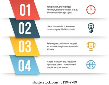 Simple vector numbered list template on white background. Decorated elementary infographics layout with sample text and icons.