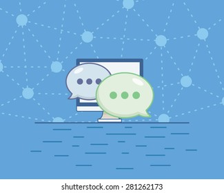 Simple vector online chat flat icon on a blue background. Chatting and communication concept