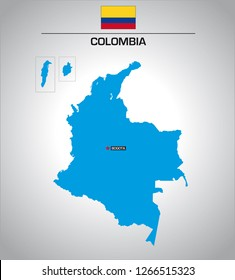 simple vector outline map of colombia with flag
