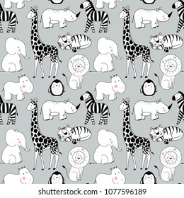 Simple vector pattern with animals, cute children's wallpaper African animals, elephant, bigot, rhinoceros, giraffe, zebra, lion and tiger, penguin. funny linear drawings.