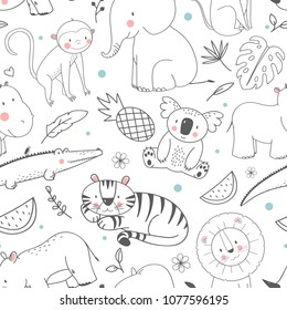 Simple vector pattern with animals, cute children's wallpaper African animals, elephant, bigem, rhinoceros, monkey, crocodile, koala, tiger, anas and watermelon, tropical print. funny linear drawings.