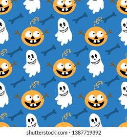 Simple vector pattern with funny pumpkins, ghosts and bones for Halloween holiday. For textiles, background, decoration, Wallpaper, postcards, fabric, flags, tablecloths.