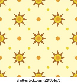 Simple vector pattern, suns and dots.