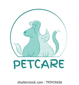 Simple Vector Petcare Logo depicting cartoon happy cat and dog.  Fully scalable and editable vector illustration.