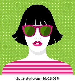 Simple vector portrait of beautiful young woman with full pink lips, black hair, wearing fashionable sunglasses with pattern and striped T-shirt against background with polka-dot pattern