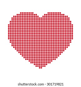 Simple vector red dotted heart.