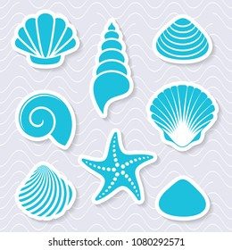 Simple vector sea shells and starfish 3d labels