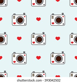 Simple vector seamless pattern. Cute photo camera and hearts. Flat cartoon style. Black, white, blue, red