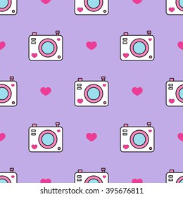 Simple vector seamless pattern. Cute photo camera and hearts. Flat cartoon style. Black, white, blue, red, lilac, pink