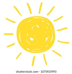 Simple vector sun drawing in flat doodle style for icons and summer graphic designs