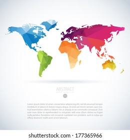 Simple vector template of continental world map with modern triangle pattern