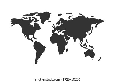 Simple vector world map flat icon.