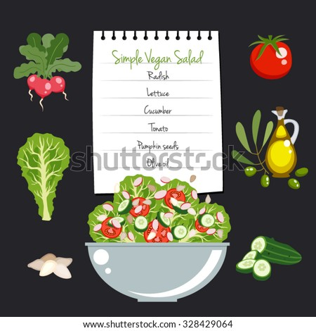 simple vegan salad recipe layout food stock vector royalty free