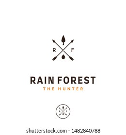 A simple and vintage cross arrow logo design. it's a simple tree on the top and water droplets on the bottom. R and F is for rain forest
