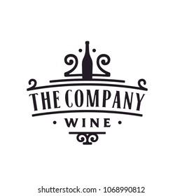 Simple Vintage Floral / Victorian Wine Logo design inspiration