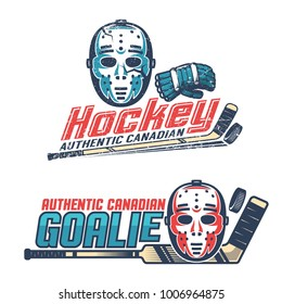 Simple vintage hockey emblems with  classic goalkeeper mask, gloves, sticks from the 60's, 70's. Worn texture on separate layer can be disabled.