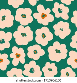 Simple vintage pattern. Green background, large light flowers. The print is well suited for textiles, packaging and Wallpaper.