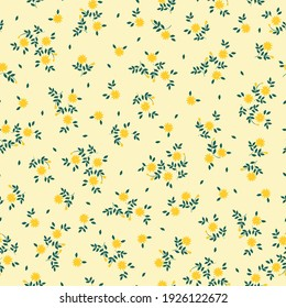 Simple vintage pattern. pale yellow background. small yellow flowers. vector texture. trend print for textiles.