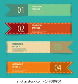 Simple vintage retro infographics options banner set.
