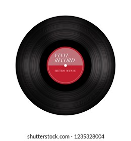 Simple Vinyl Record, Gramophone Vinyl record Technology with Vintage Retro Look Label.