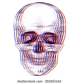 Simple violet electro skull.White background.