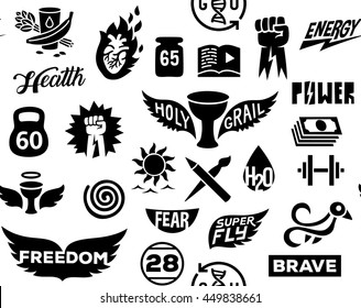 simple vital emblems badges set icons seamless pattern, isolated vector graphic shape logotype illustrations.