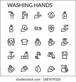 Simple Washing Hands Line Style Contain Such Icon as Handwash, Hand, Hygiene, Wash, Antiseptic, Sanitizer, Soap, Water, Faucet, Foam, Gel, Medical and more. 48 x 48 Pixel Perfect