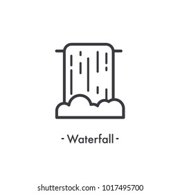 Simple waterfall icon. Nature, national park and outdoor symbol. Vector Illustration.