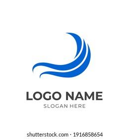 simple wave logo design flat blue color style