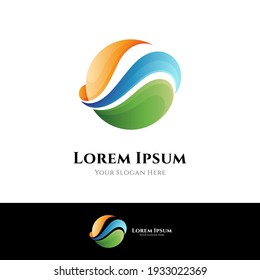Simple wave logo design with gradient color in circle shape