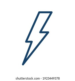 Simple weather icon in line art style of thunderbolt. Flash of lightning in thunder. Abstract symbol of thunderstorm. Linear flat vector illustration isolated on white background